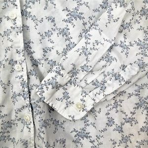 Uniglo Button Down Shirt Floral Print White Blue M